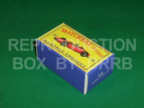 Matchbox 1-75 #73 Ferrari Racing Car - Reproduction Box